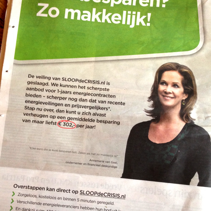Newspaper ads, Sloop de Crisis